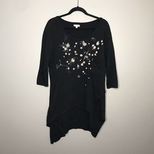 Silence + Noise splatter asymmetric layered tunic